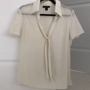St. John Cream S/S Silk Bow Blouse Size 10